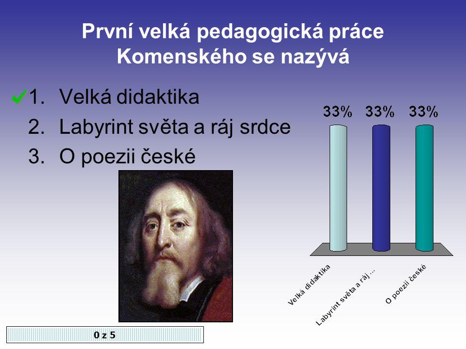 První velká pedagogická práce Komenského se nazývá