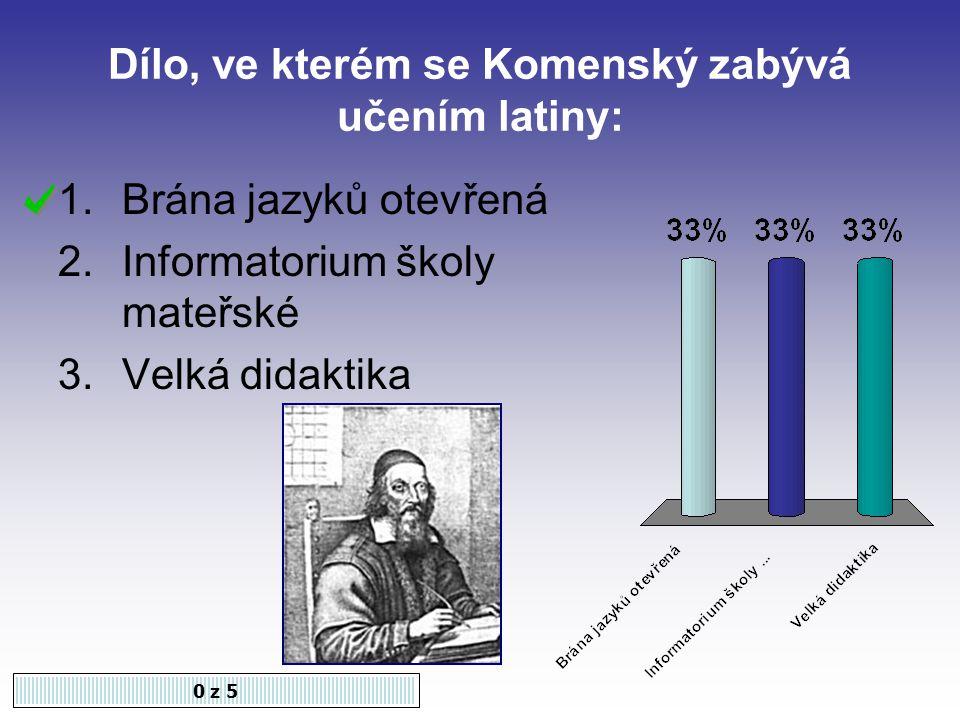 Dílo, ve kterém se Komenský zabývá učením latiny: