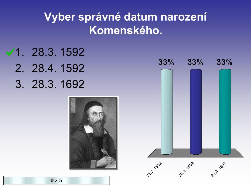Vyber správné datum narození Komenského.