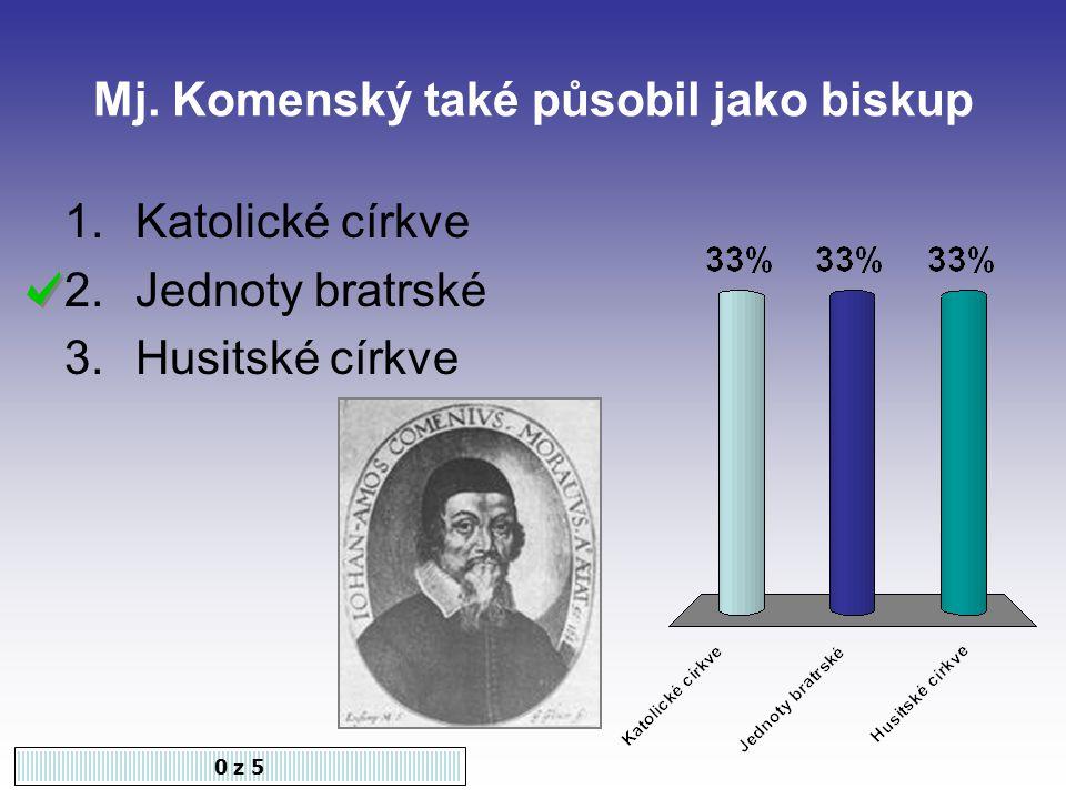 Mj. Komenský také působil jako biskup