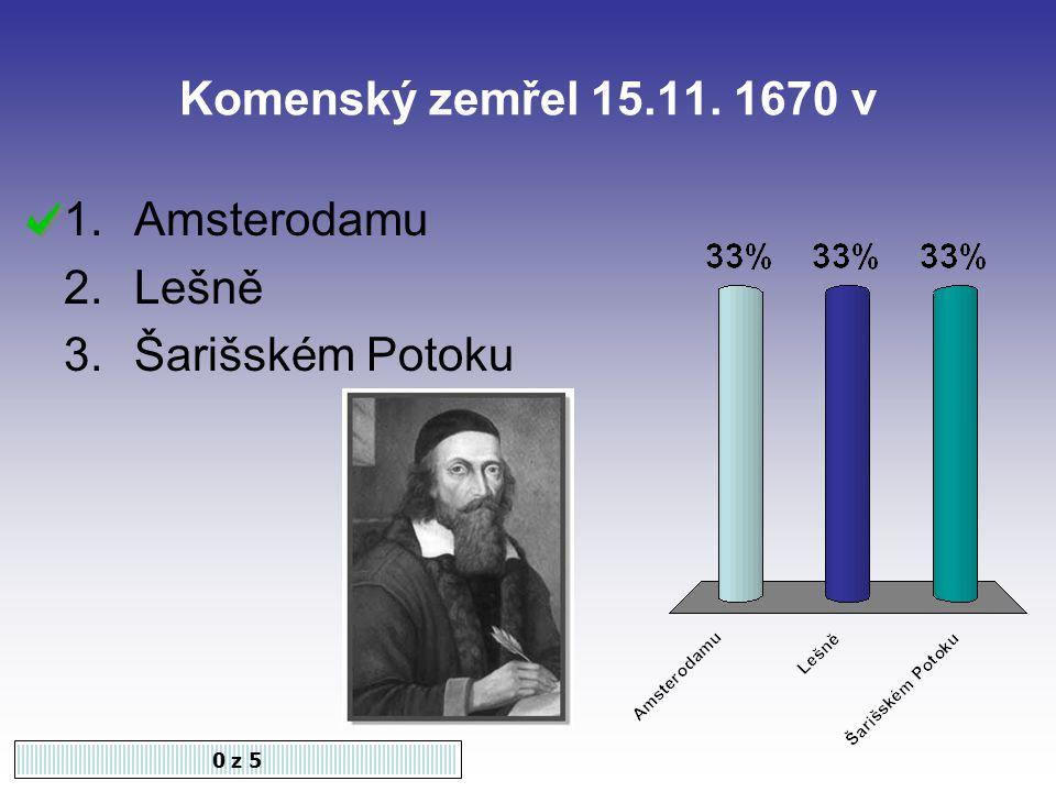 Komenský zemřel 15.11. 1670 v Amsterodamu Lešně Šarišském Potoku 0 z 5