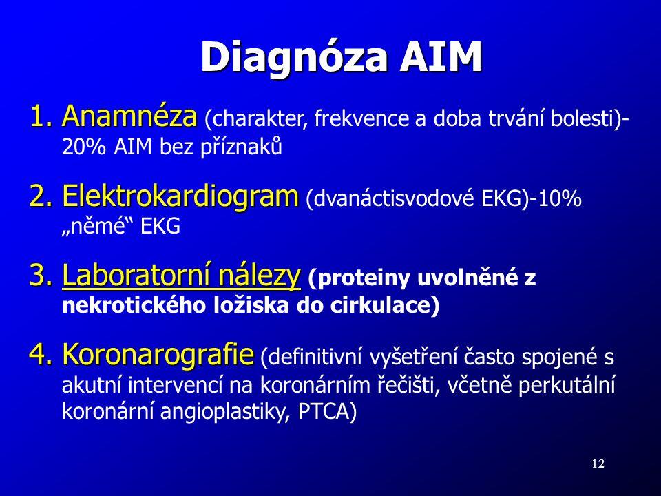 """Diagnóza AIM Anamnéza (charakter, frekvence a doba trvání bolesti)- 20% AIM bez příznaků. Elektrokardiogram (dvanáctisvodové EKG)-10% """"němé EKG."""