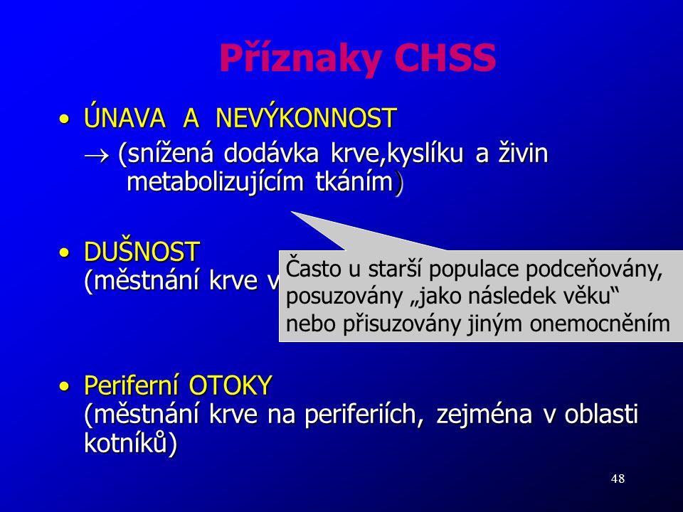 Příznaky CHSS ÚNAVA A NEVÝKONNOST