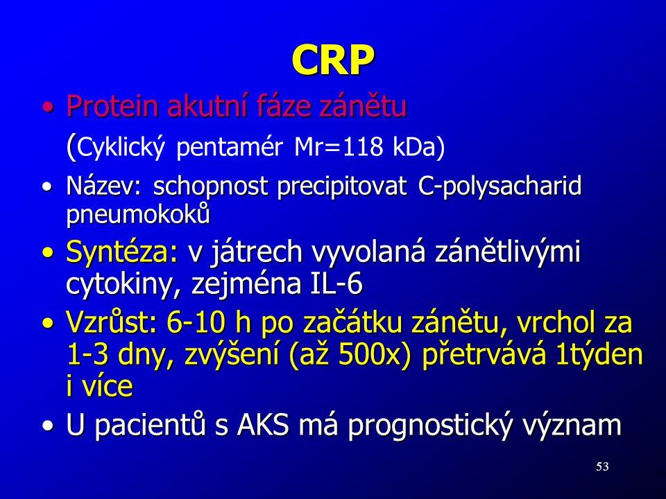 CRP Protein akutní fáze zánětu (Cyklický pentamér Mr=118 kDa)