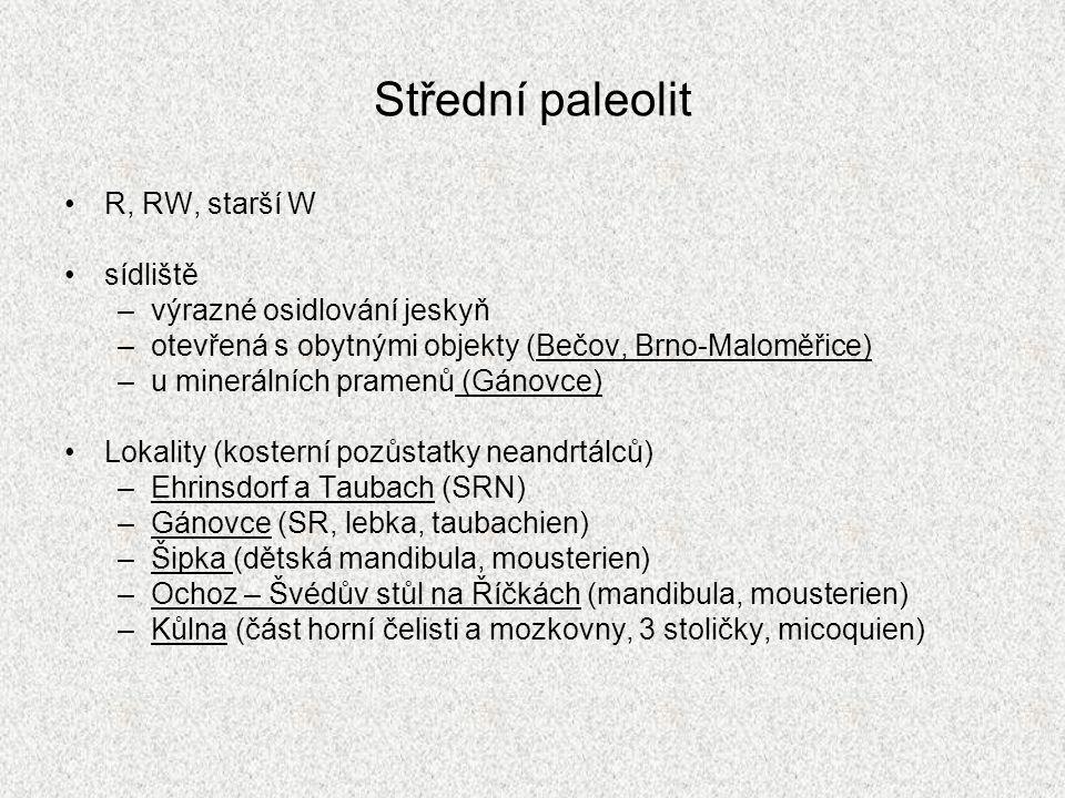 Střední paleolit R, RW, starší W sídliště výrazné osidlování jeskyň