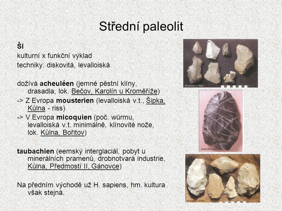 Střední paleolit ŠI kulturní x funkční výklad