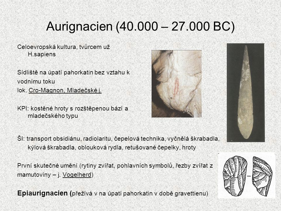 Aurignacien (40.000 – 27.000 BC) Celoevropská kultura, tvůrcem už H.sapiens. Sídliště na úpatí pahorkatin bez vztahu k.