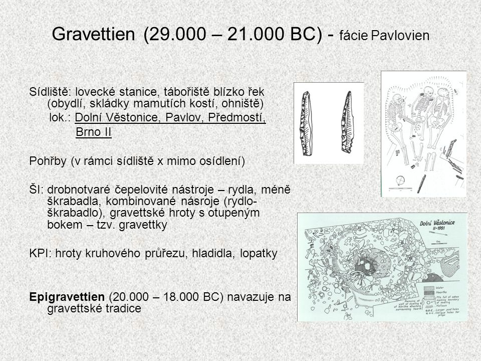 Gravettien (29.000 – 21.000 BC) - fácie Pavlovien