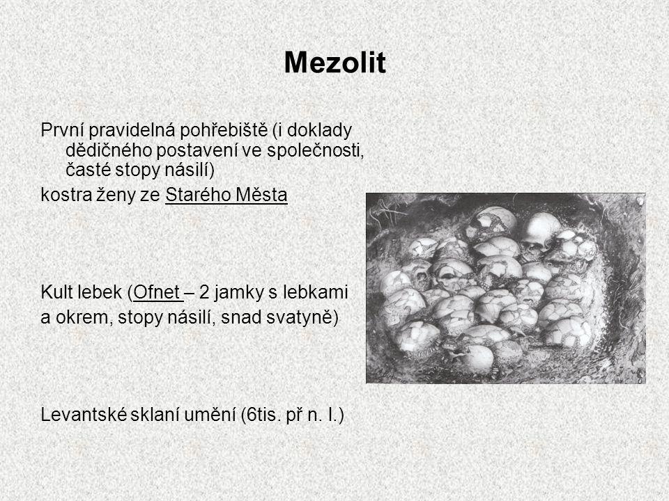 Mezolit První pravidelná pohřebiště (i doklady dědičného postavení ve společnosti, časté stopy násilí)