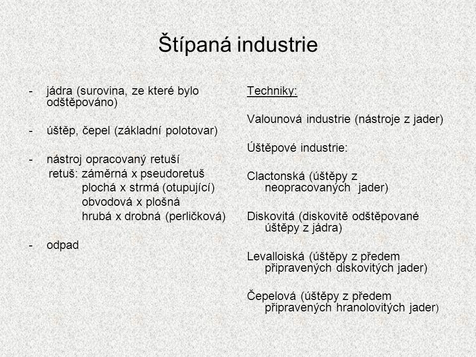 Štípaná industrie jádra (surovina, ze které bylo odštěpováno)