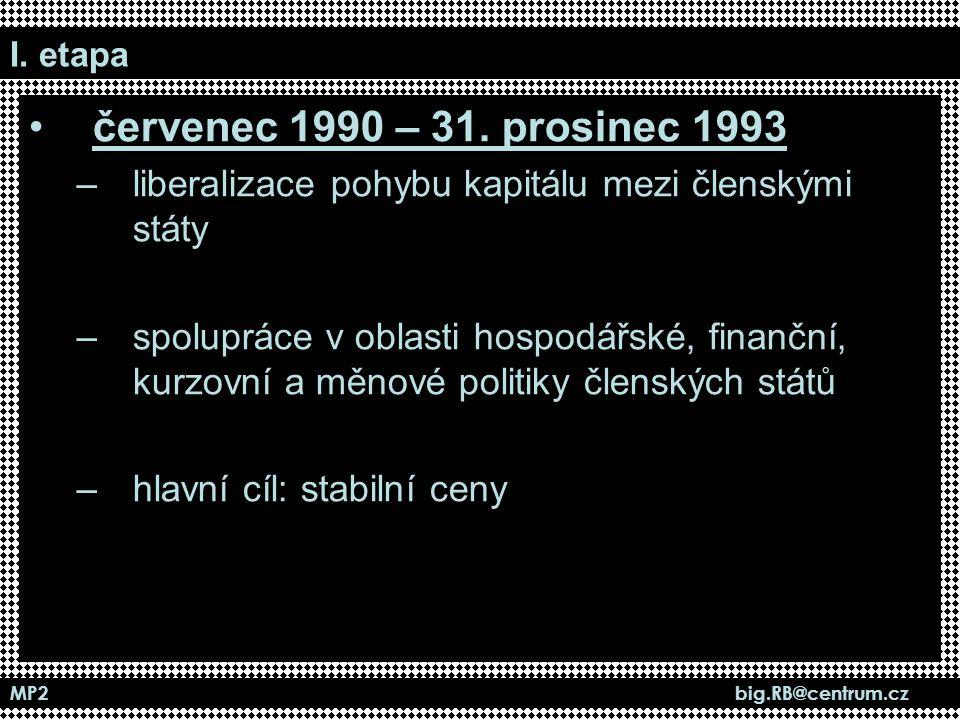 I. etapa červenec 1990 – 31. prosinec 1993. liberalizace pohybu kapitálu mezi členskými státy.
