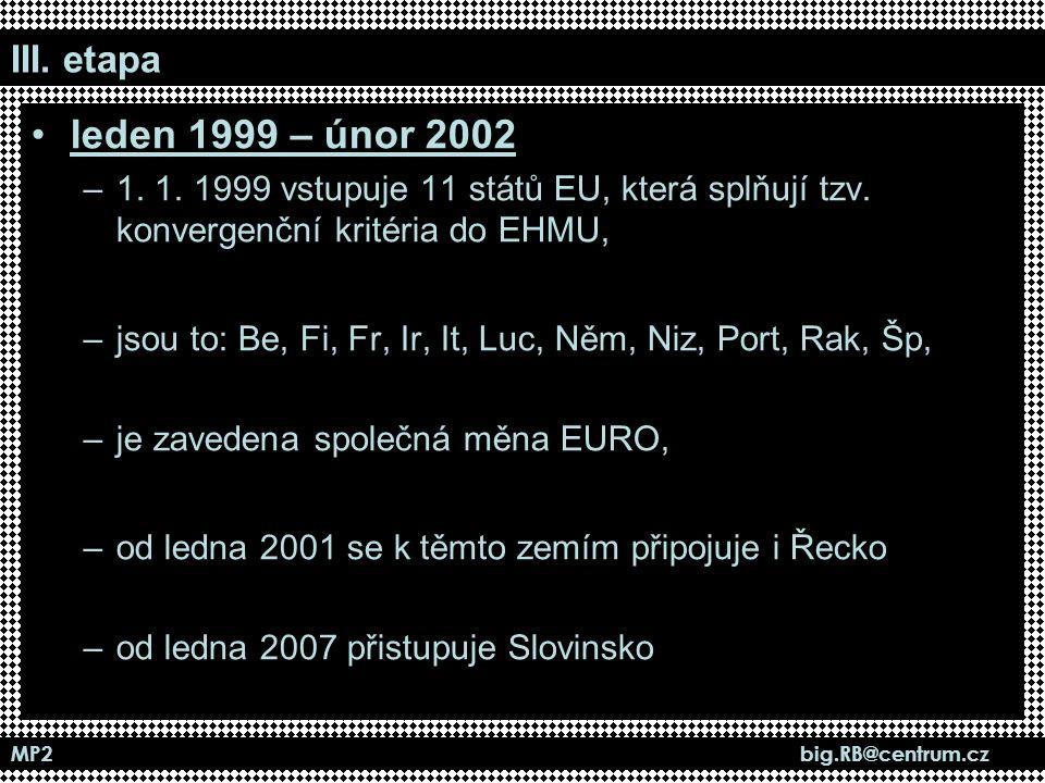 III. etapa leden 1999 – únor 2002. 1. 1. 1999 vstupuje 11 států EU, která splňují tzv. konvergenční kritéria do EHMU,