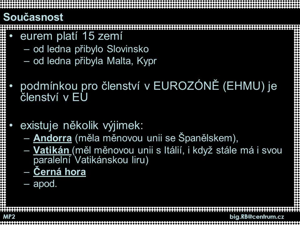 podmínkou pro členství v EUROZÓNĚ (EHMU) je členství v EU