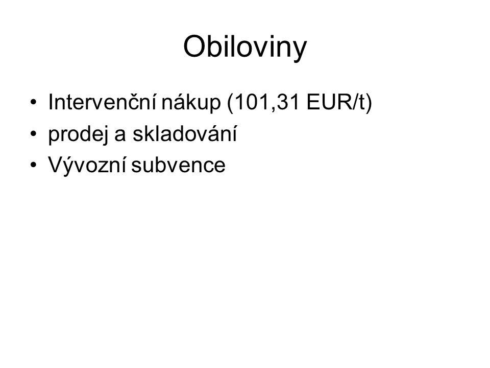 Obiloviny Intervenční nákup (101,31 EUR/t) prodej a skladování
