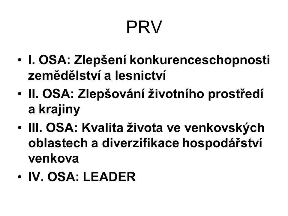 PRV I. OSA: Zlepšení konkurenceschopnosti zemědělství a lesnictví