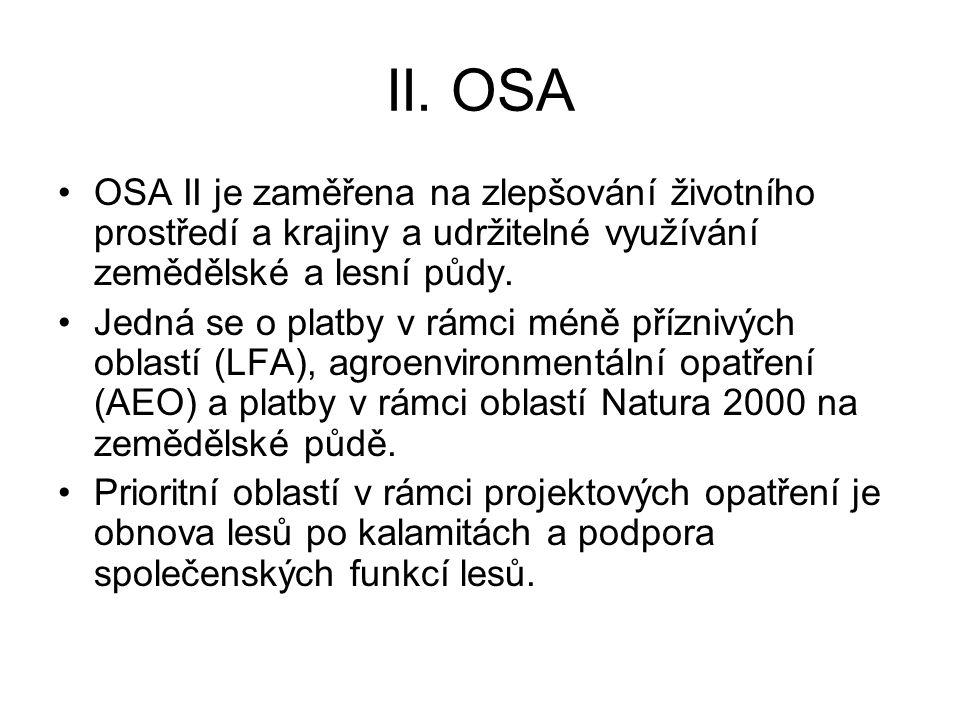 II. OSA OSA II je zaměřena na zlepšování životního prostředí a krajiny a udržitelné využívání zemědělské a lesní půdy.