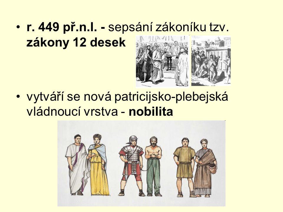 r. 449 př.n.l. - sepsání zákoníku tzv. zákony 12 desek