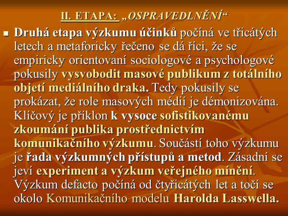 """II. ETAPA: """"OSPRAVEDLNĚNÍ"""