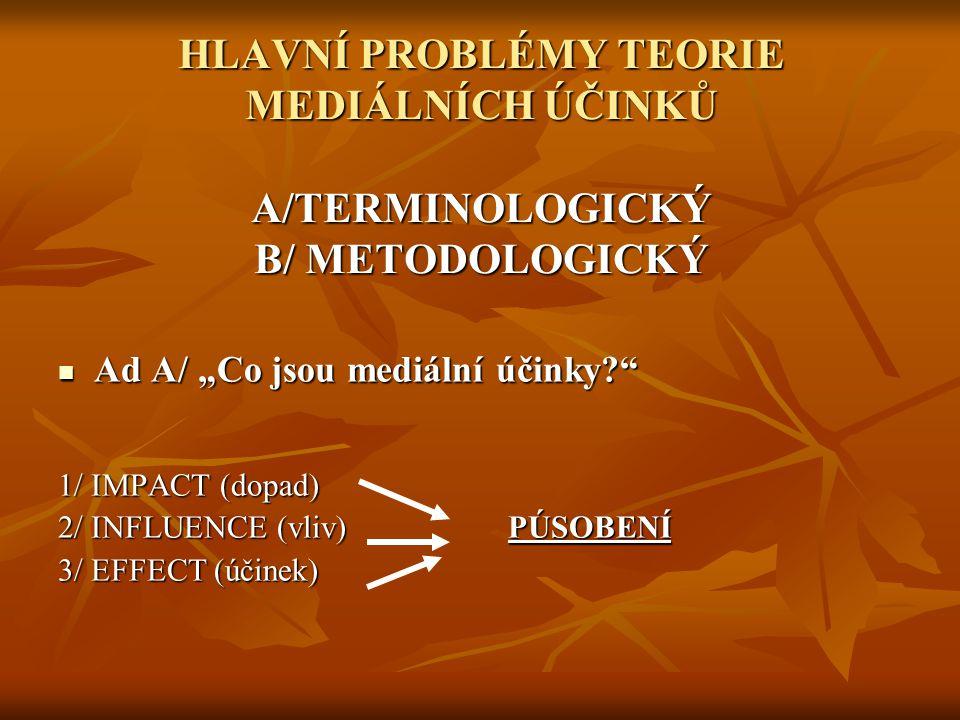 HLAVNÍ PROBLÉMY TEORIE MEDIÁLNÍCH ÚČINKŮ A/TERMINOLOGICKÝ B/ METODOLOGICKÝ