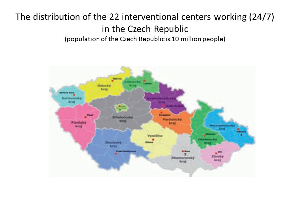 The distribution of the 22 interventional centers working (24/7) in the Czech Republic (population of the Czech Republic is 10 million people)