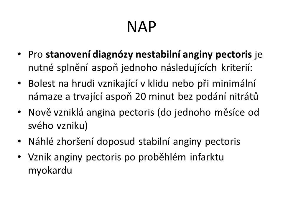 NAP Pro stanovení diagnózy nestabilní anginy pectoris je nutné splnění aspoň jednoho následujících kriterií: