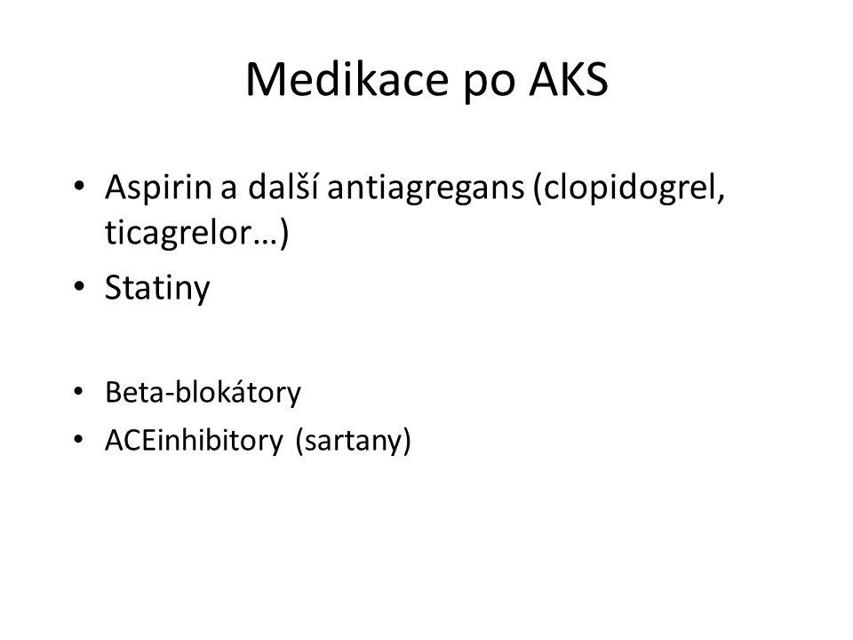 Medikace po AKS Aspirin a další antiagregans (clopidogrel, ticagrelor…) Statiny.
