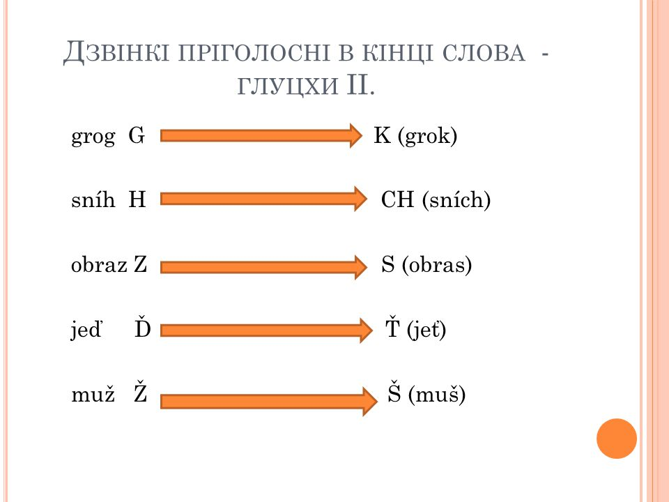 Дзвінкі пріголосні в кінці слова - глуцхи II.