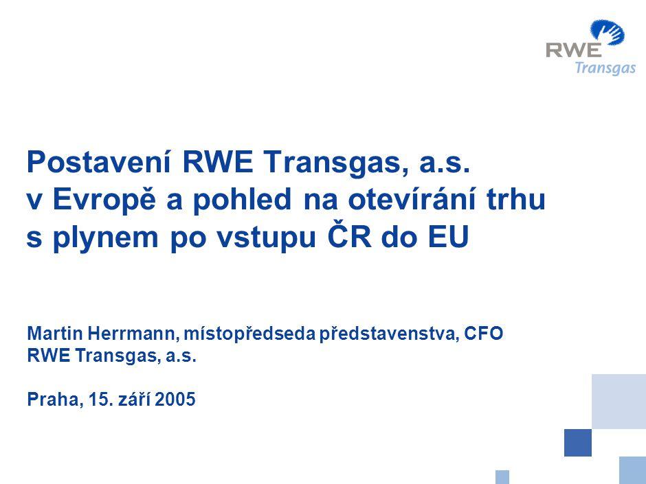 Obsah Postavení skupiny RWE v Evropě Údaje o RWE Transgas, a.s.