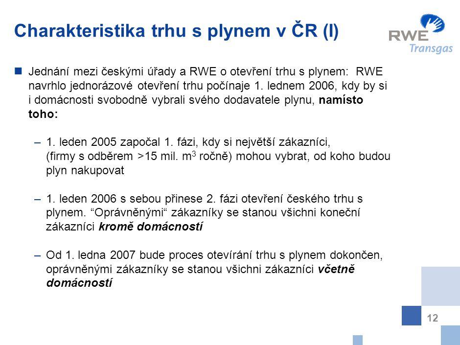 Charakteristika trhu s plynem v ČR (II)