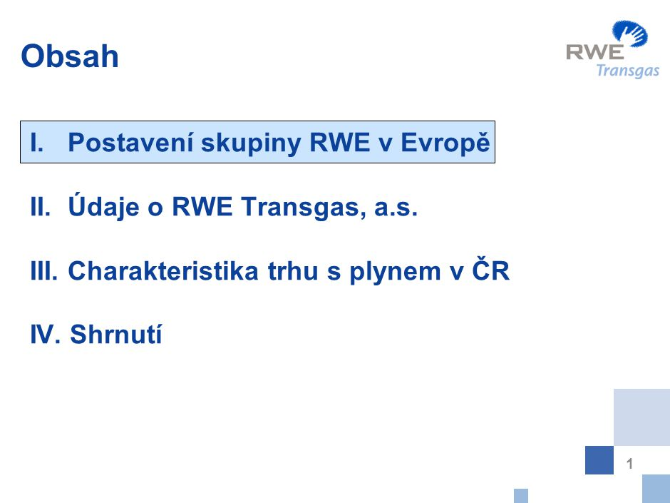 Postavení skupiny RWE na světovém trhu s energií
