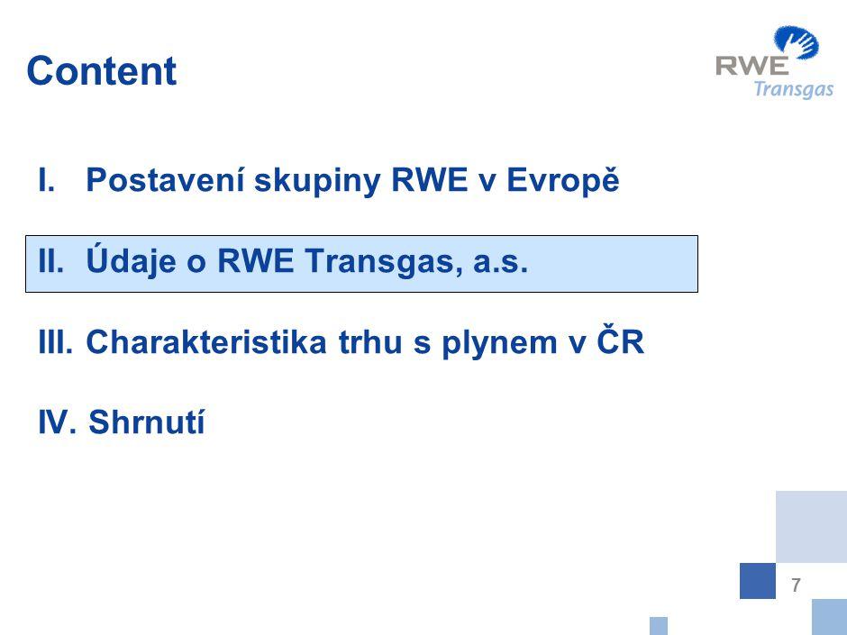 Český trh s plynem - RWE přímo zásobuje 83% konečných uživatelů