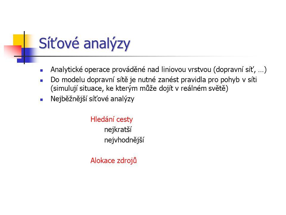 Síťové analýzy Analytické operace prováděné nad liniovou vrstvou (dopravní síť, …)