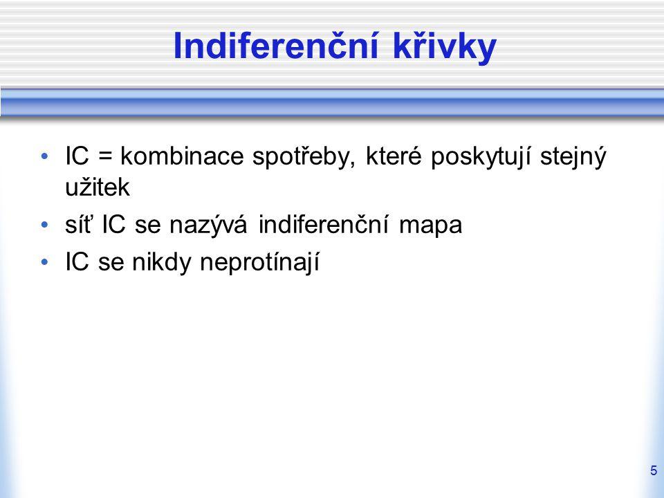 Indiferenční křivky IC = kombinace spotřeby, které poskytují stejný užitek. síť IC se nazývá indiferenční mapa.