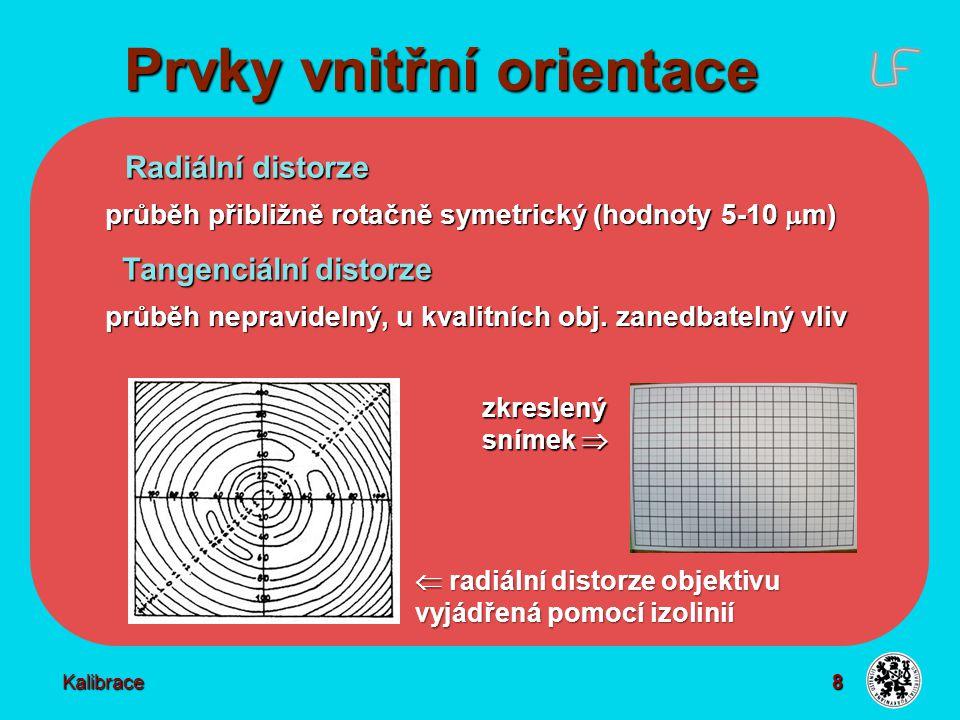 Metody určení PvniO Znalost prvků vnitřní orientace  Měřické komory