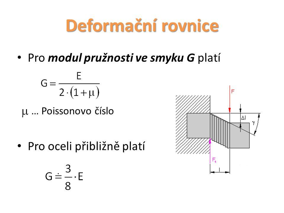 Deformační rovnice Pro modul pružnosti ve smyku G platí
