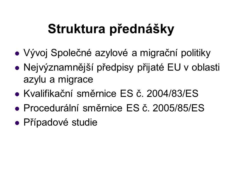 Struktura přednášky Vývoj Společné azylové a migrační politiky