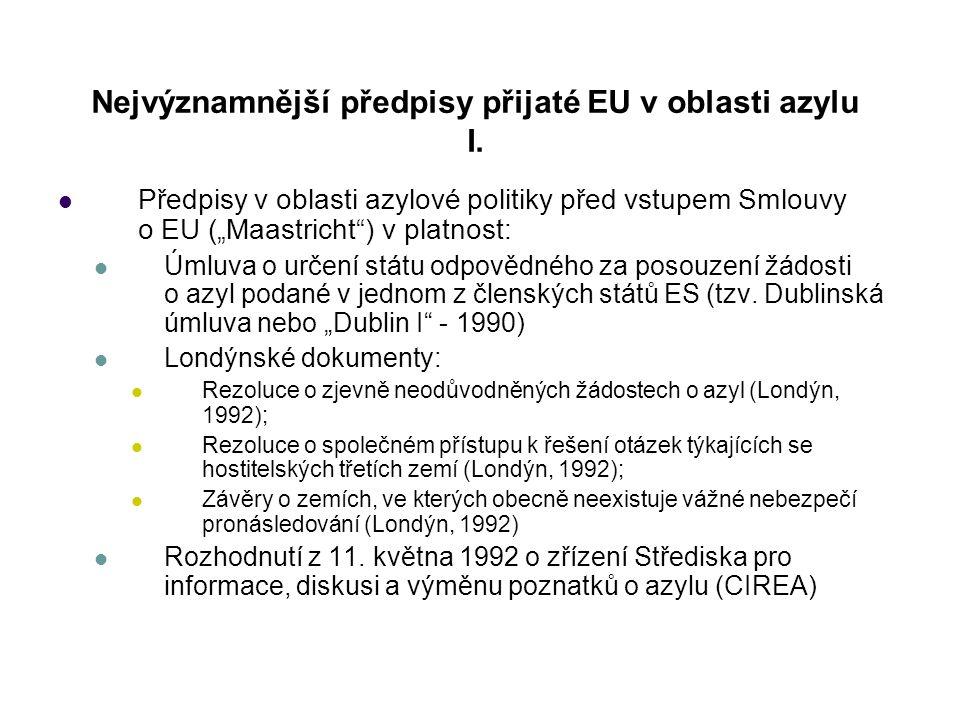 Nejvýznamnější předpisy přijaté EU v oblasti azylu I.