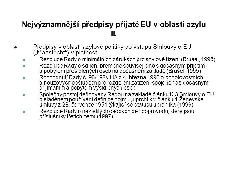 Nejvýznamnější předpisy přijaté EU v oblasti azylu II.