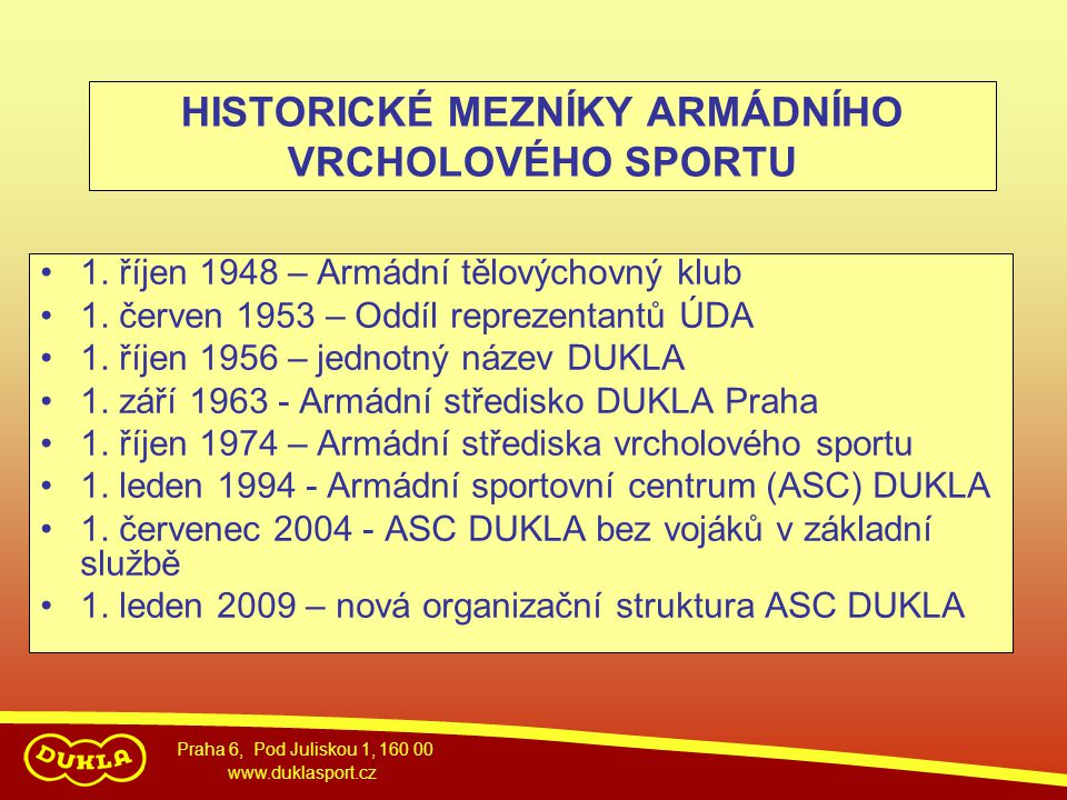 HISTORICKÉ MEZNÍKY ARMÁDNÍHO VRCHOLOVÉHO SPORTU