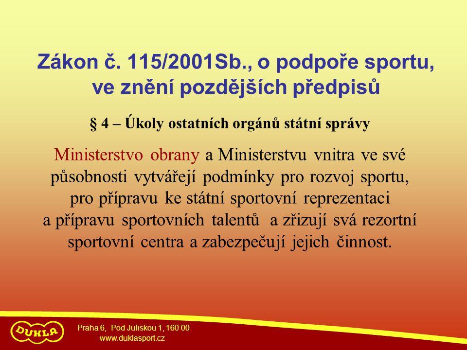Zákon č. 115/2001Sb., o podpoře sportu, ve znění pozdějších předpisů