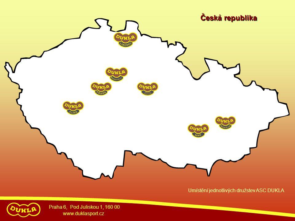 Česká republika Umístění jednotlivých družstev ASC DUKLA