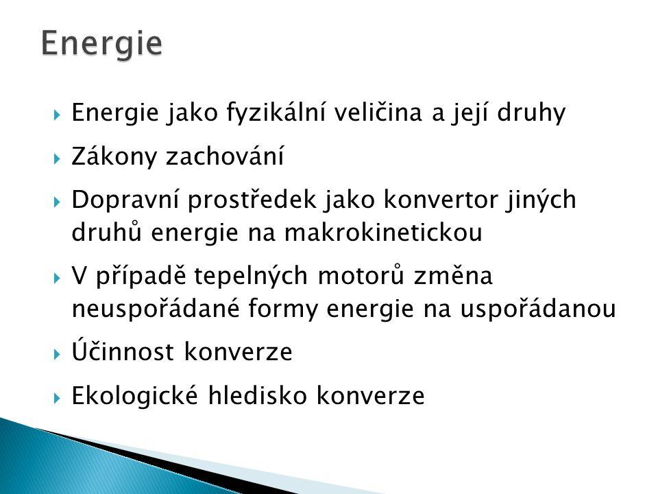 Energie Energie jako fyzikální veličina a její druhy Zákony zachování