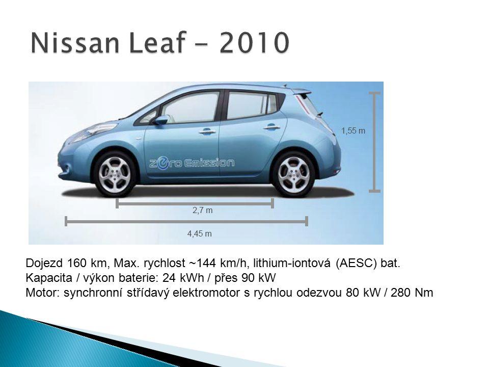Nissan Leaf - 2010 Dojezd 160 km, Max. rychlost ~144 km/h, lithium-iontová (AESC) bat. Kapacita / výkon baterie: 24 kWh / přes 90 kW.