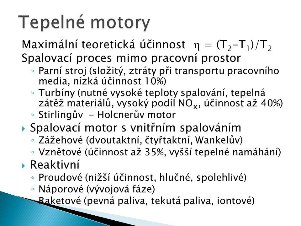 Tepelné motory Maximální teoretická účinnost  = (T2-T1)/T2
