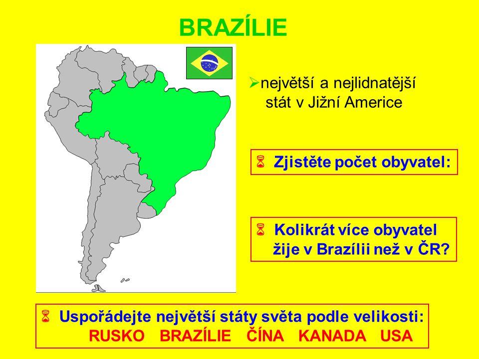 BRAZÍLIE největší a nejlidnatější stát v Jižní Americe