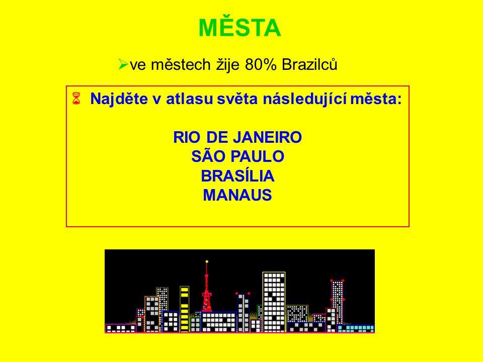 MĚSTA ve městech žije 80% Brazilců