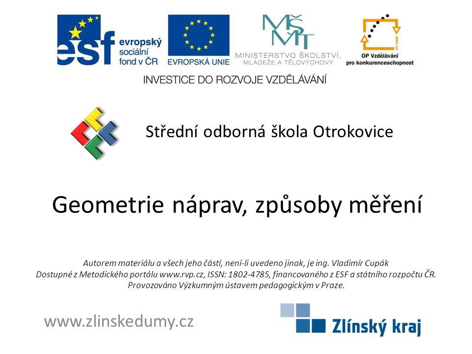 Geometrie náprav, způsoby měření