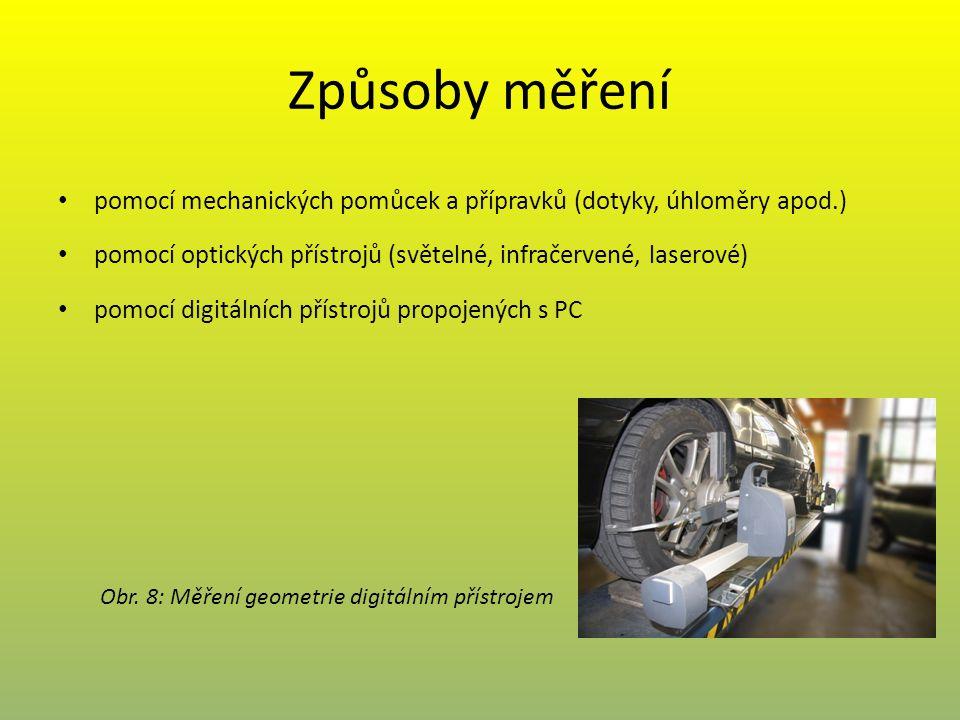 Způsoby měření pomocí mechanických pomůcek a přípravků (dotyky, úhloměry apod.) pomocí optických přístrojů (světelné, infračervené, laserové)