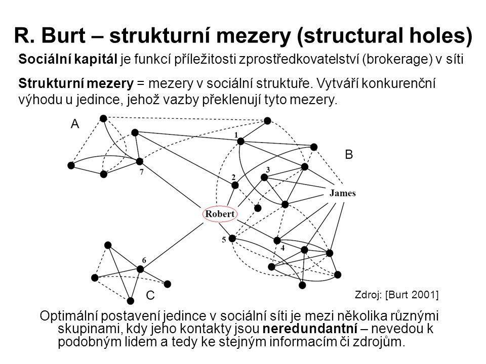 R. Burt – strukturní mezery (structural holes)