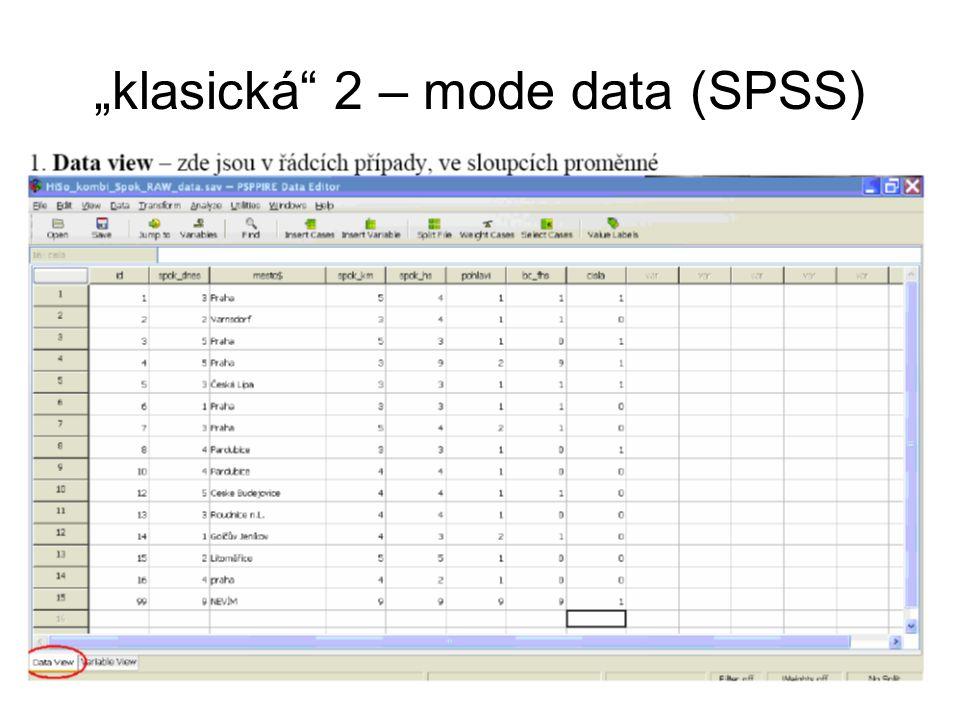 """klasická 2 – mode data (SPSS)"
